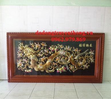 Tranh đồng mai hóa rồng,tranh đồng treo phòng khách-dodongtruyenthong