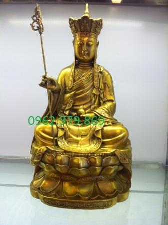 Tượng địa tạng ngồi 50cm đồng vàng