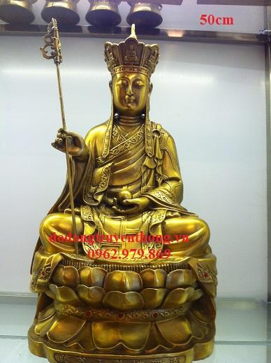 Tượng  địa tạng 50cm  đồng vàng-dodongtruyenthong.vn
