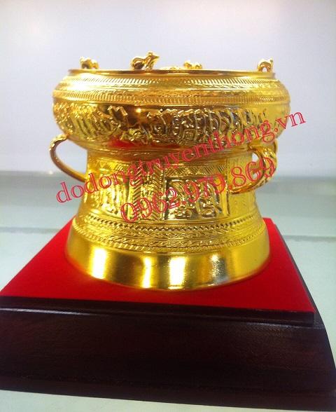 Bán trống đồng mạ vàng quà lưu niệm 10cm