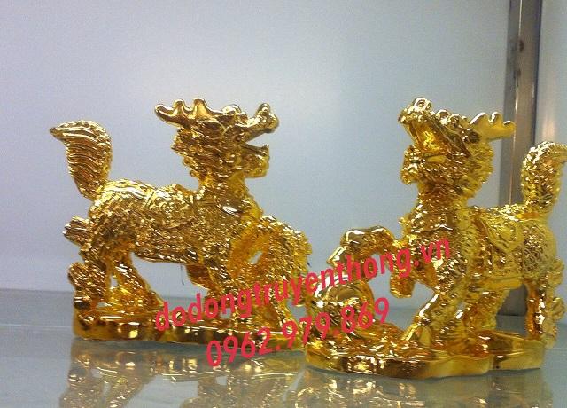 Tượng đồng kỳ lân mạ vàng 24k,quà tặng mạ vàng