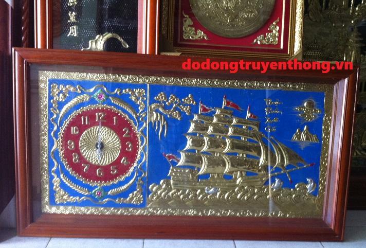 Tranh đồng hồ,quà tặng mừng tân gia,tranh bằng đồng