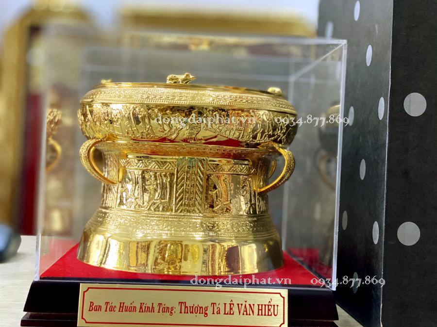 Trống đồng mạ vàng 9999 12 cm quà tặng Vip