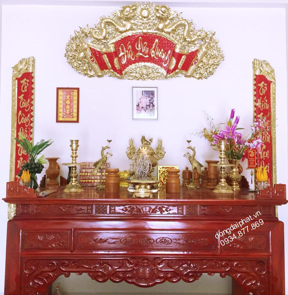 Hoành phi câu đối Đức Lưu Quang chữ thư pháp 1,75 m