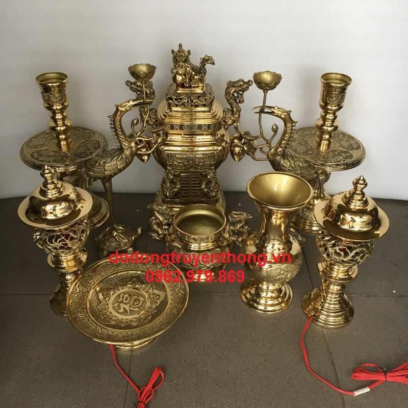 Bộ đồ đồng vĩnh tiến 50 cm giá rẻ cho bàn thờ 1.35 m