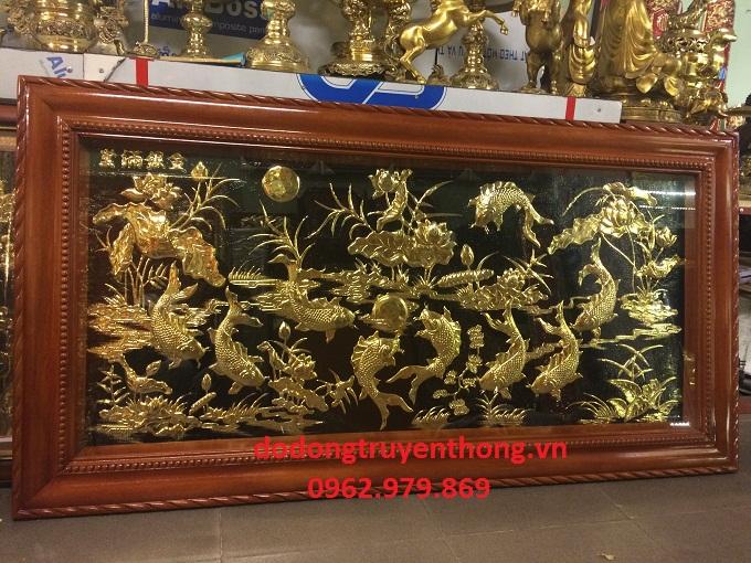 tranh đồng cá chép mạ vàng