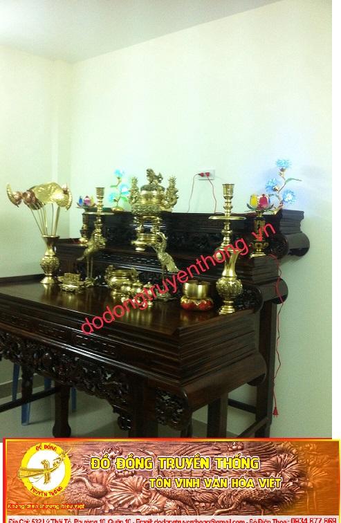 Bộ lư đồng vĩnh tiến số 3 cao 48cm cho bàn thờ gia đình