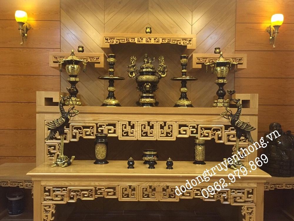 Bộ lư đồng đại phát đen vàng 6 1 cm cho bàn thờ 1, 9 5 m
