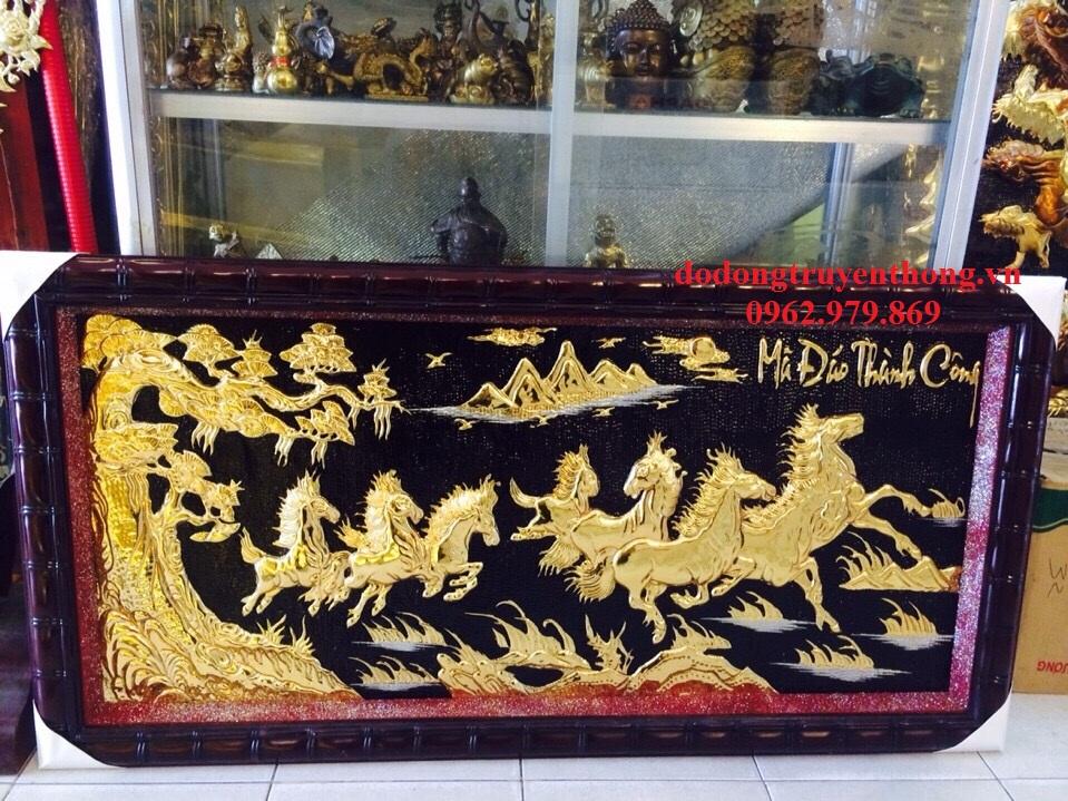 Tranh mạ vàng mã đáo thành công quà tặng cao cấp