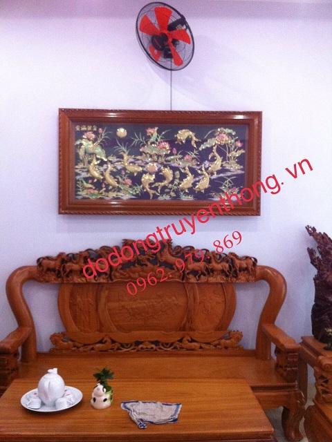 Bức tranh đồng cá chép hoa sen 1,56m