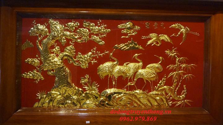 Tranh đồng tùng hạc mạ vàng mừng tân gia Sang trọng